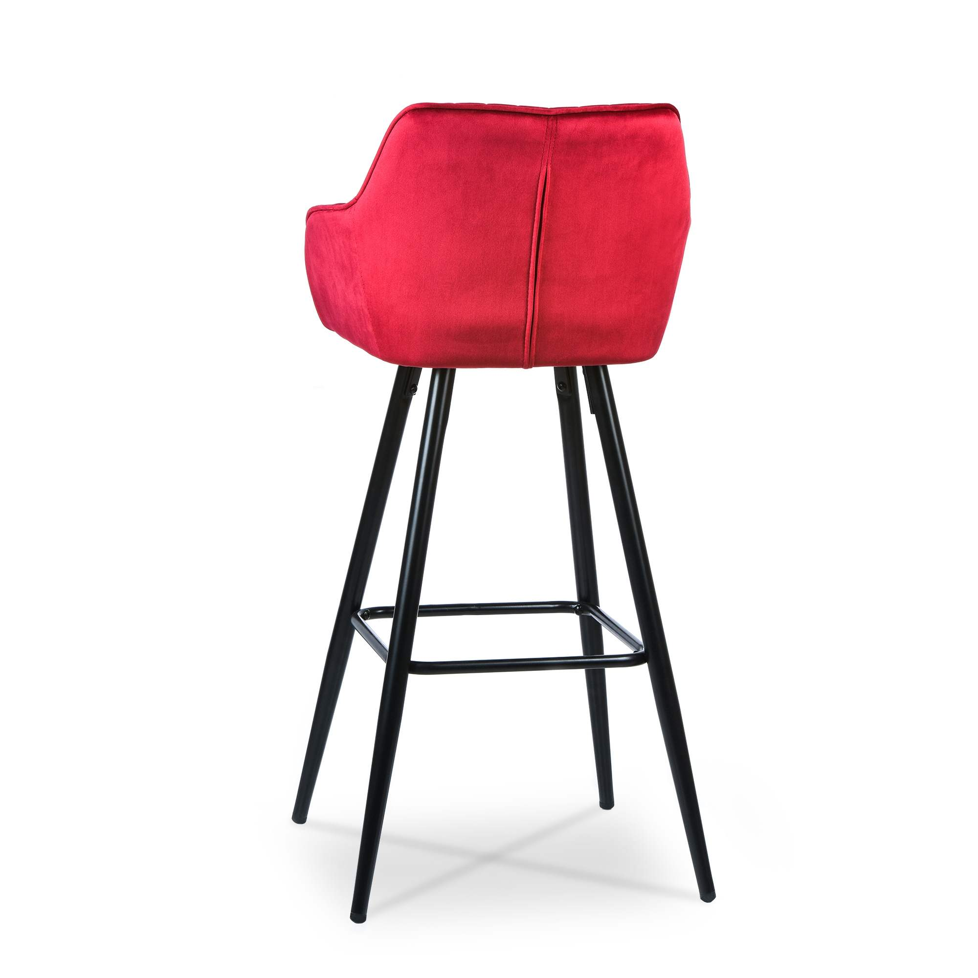 Lot de 2 tabourets de bar en tissu velours rouge ALESSA