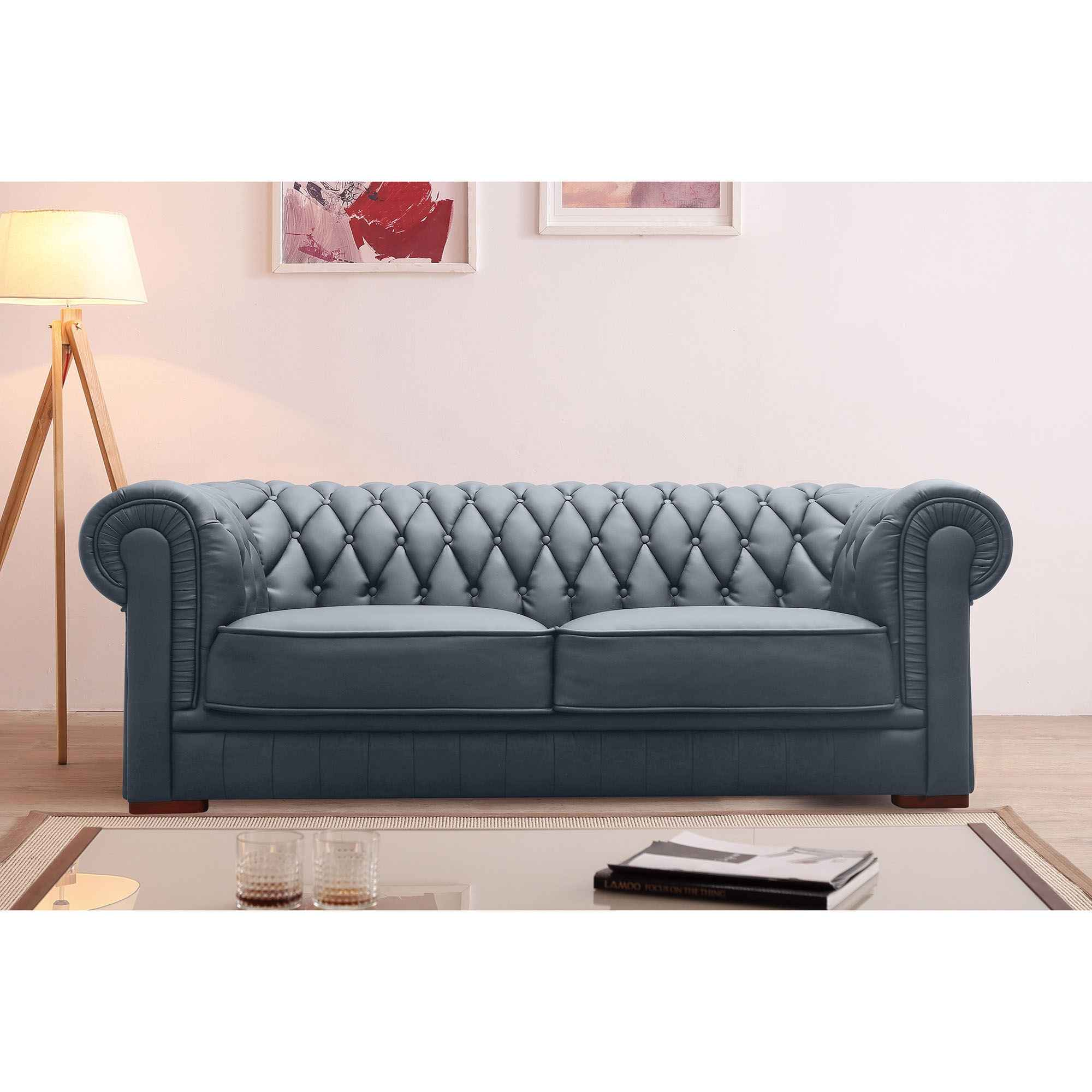 Ensemble capitonné en cuir gris Chesterfield 3+2 places