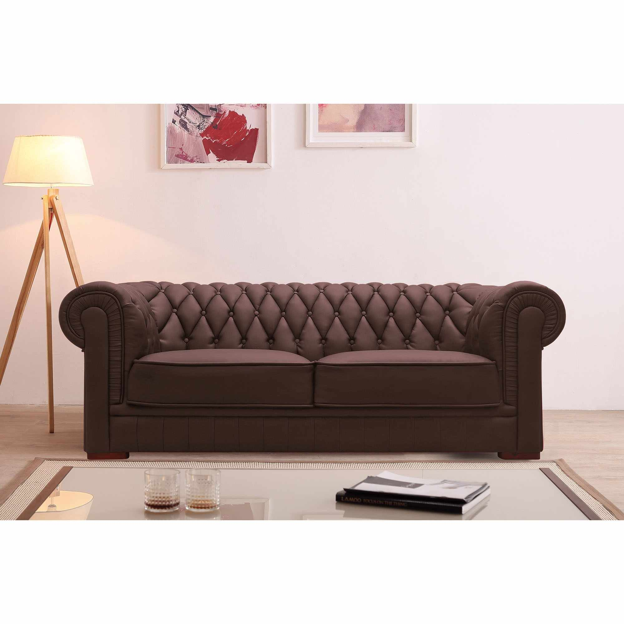 Canapé capitonné 3 places en cuir marron CHESTERFIELD