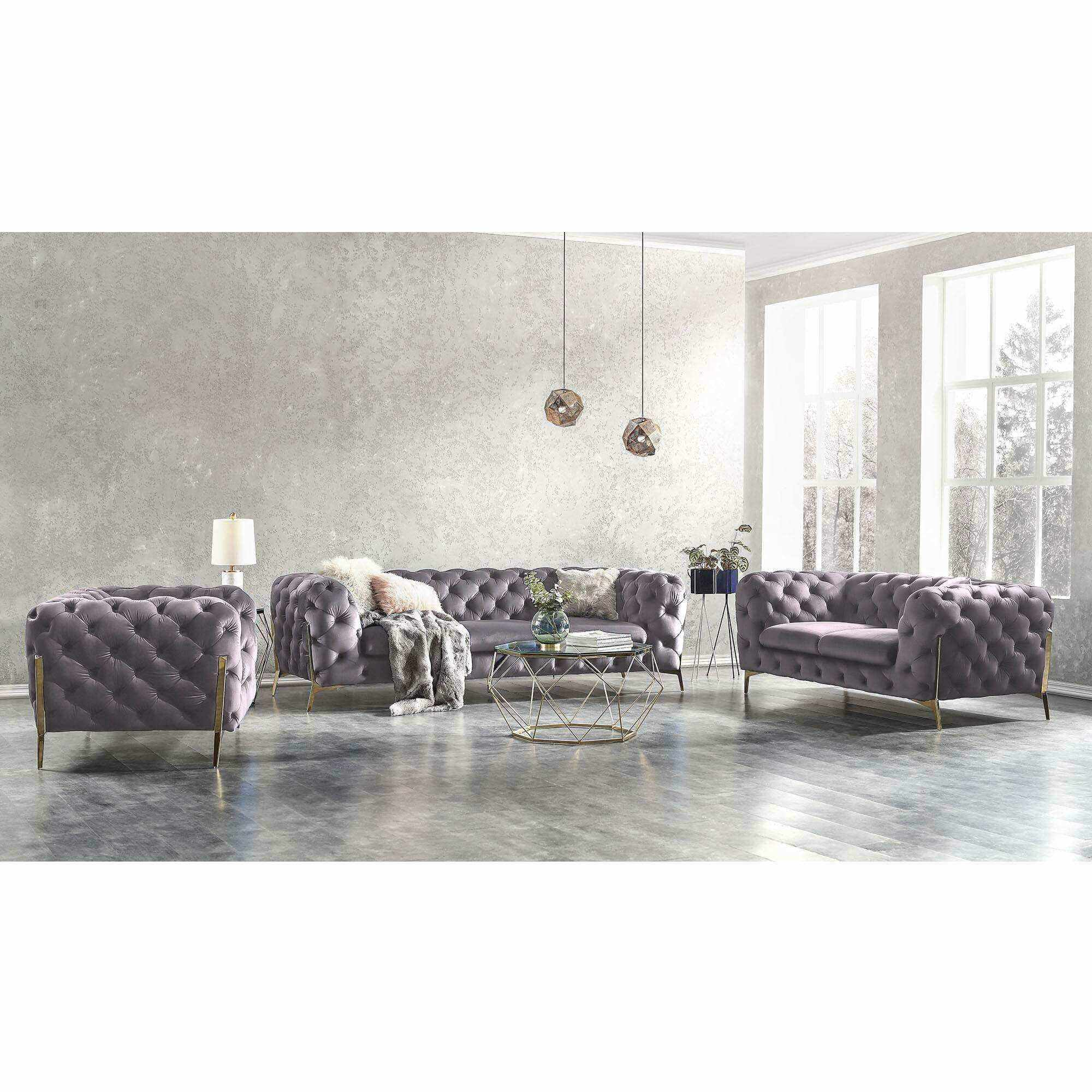 Ensemble canapé 3+2+1 places chesterfield velours gris CARMEN