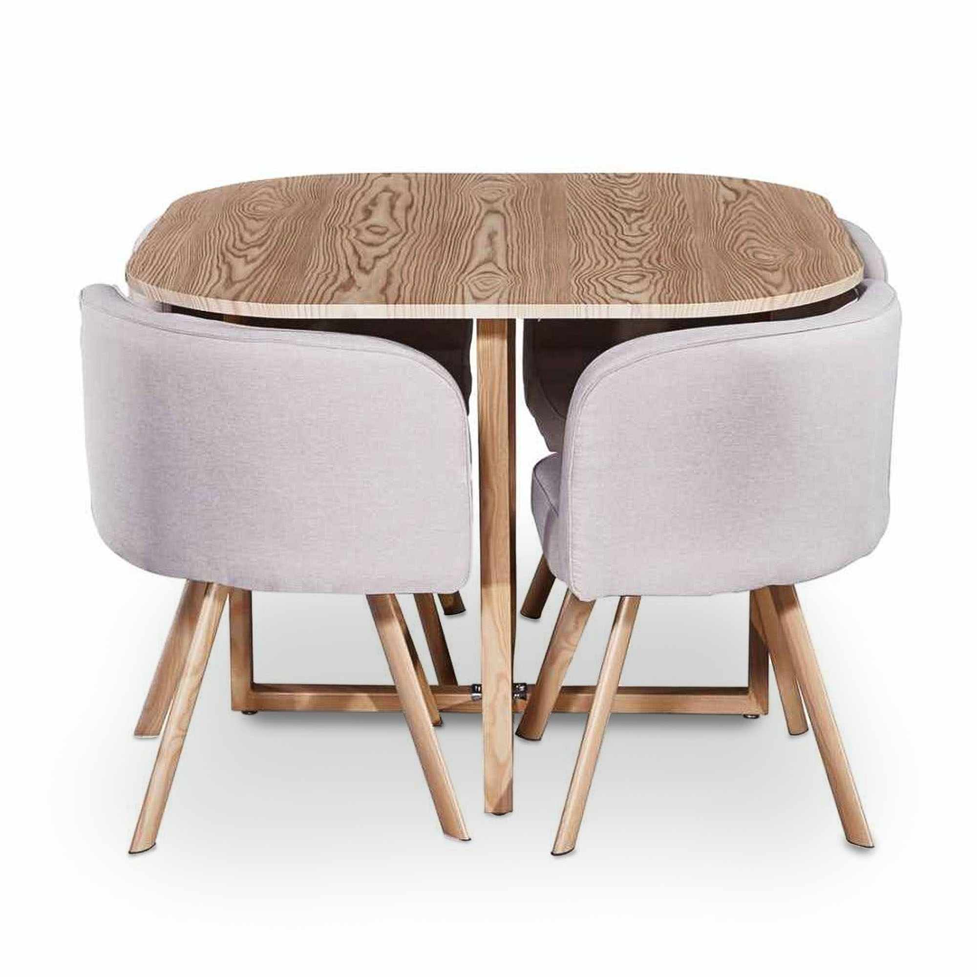 Ensemble table + 4 chaises encastrables beige FLEN