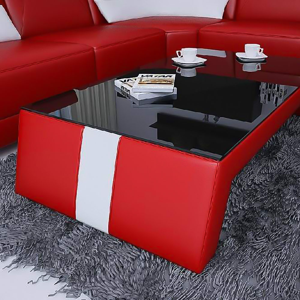 Table basse design rouge et blanc TALY