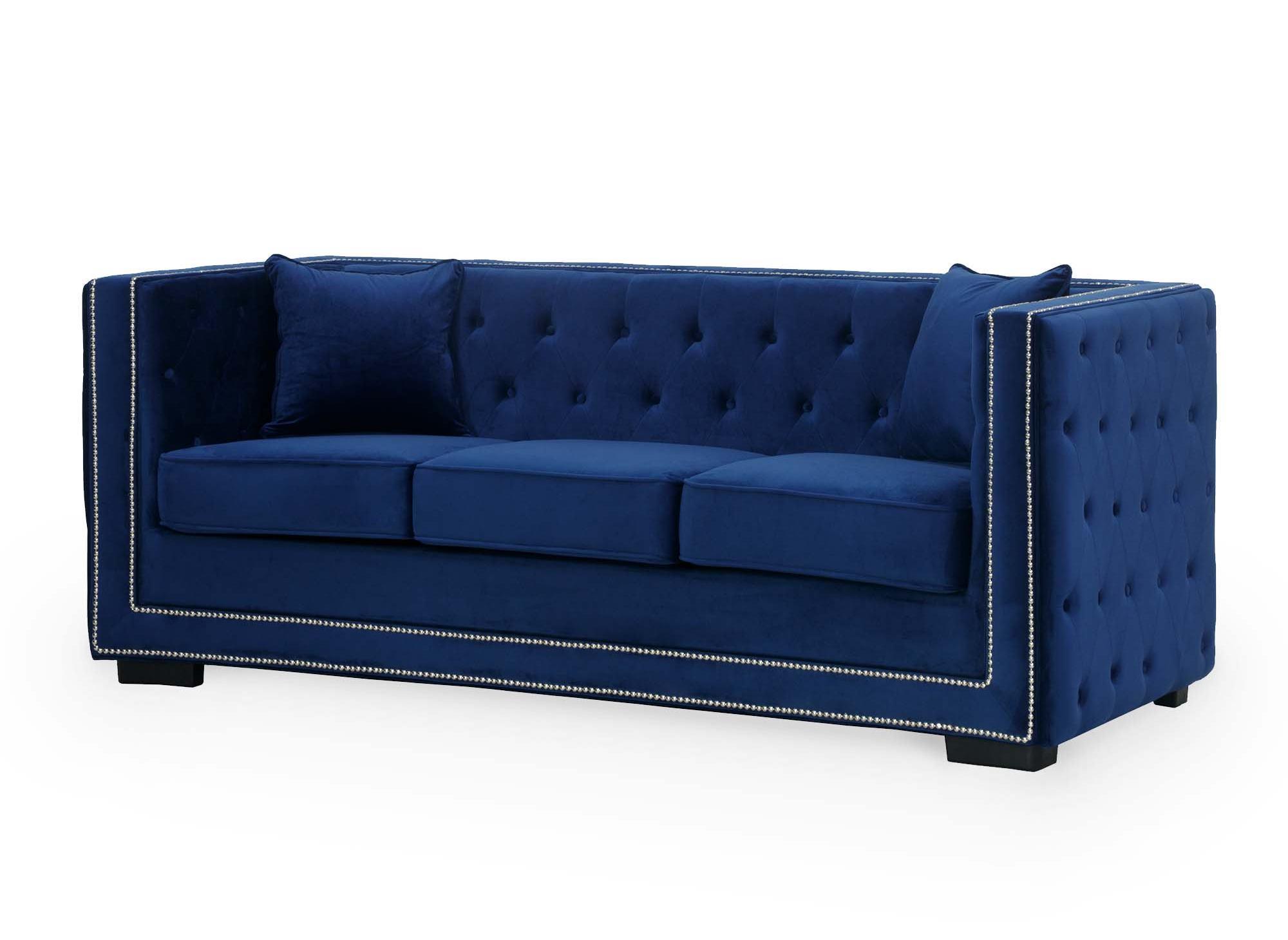 Ensemble canapé 3+2+1 places capitonné chesterfield design en velours bleu CUBE