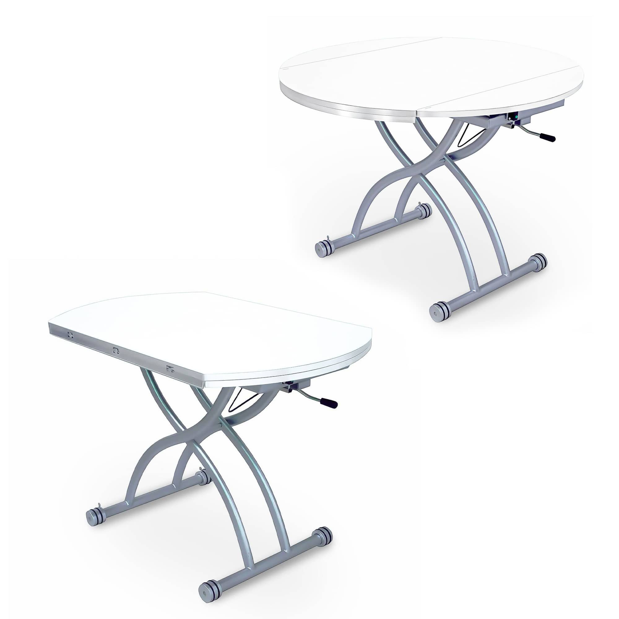 table basse rondo relevable extensible blanche