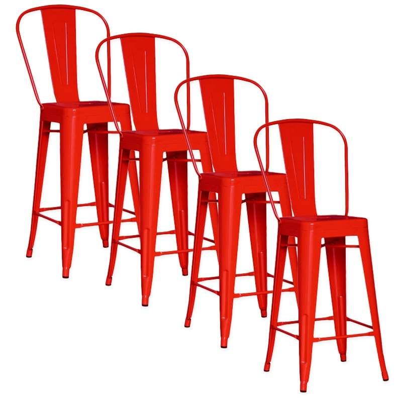 deco in paris lot de 4 chaises de bar metal loft laque rouge tab dossier rouge x4. Black Bedroom Furniture Sets. Home Design Ideas