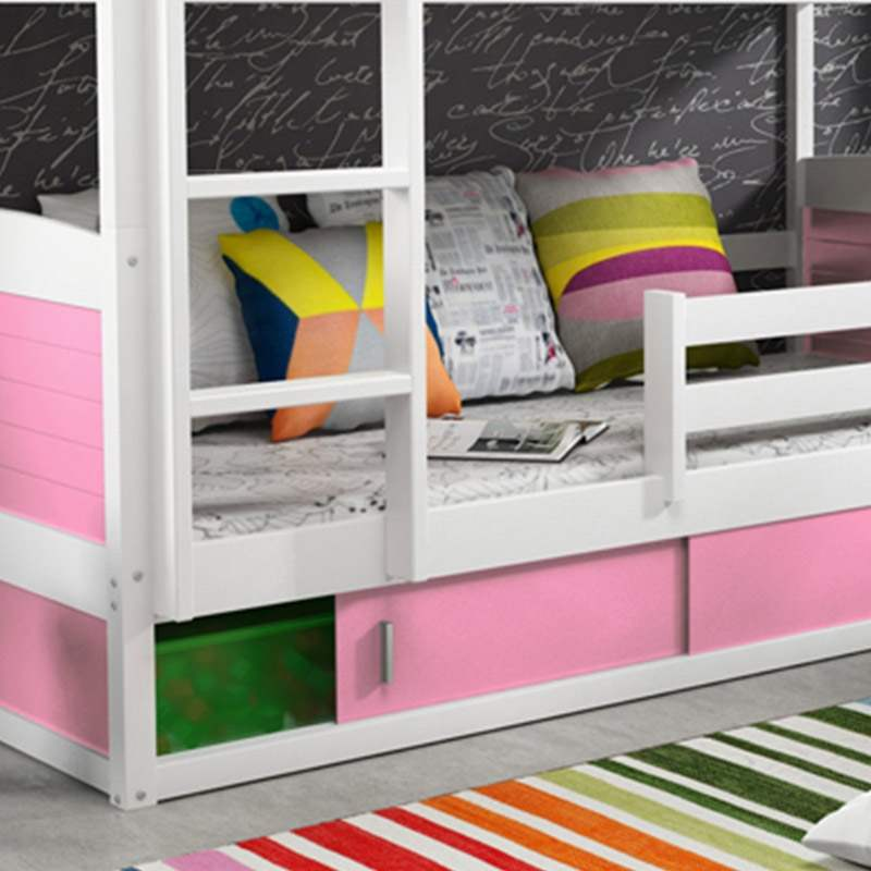 deco in paris lits superposes blanc et rose 200 x 90 cm kiko kiko blanc rose. Black Bedroom Furniture Sets. Home Design Ideas
