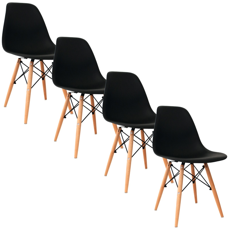 Deco in paris lot de 4 chaises design noir nina nina x4 noir for Chaise noir design