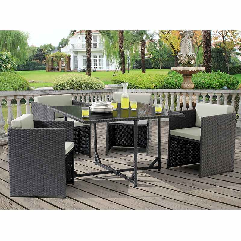 Deco in paris ensemble de jardin en resine tressee gris for Table et chaise de jardin en resine tressee gris