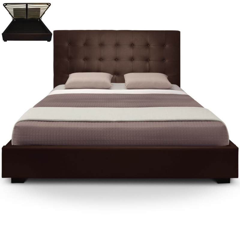 deco in paris lit coffre 140 cm marron avec rangement. Black Bedroom Furniture Sets. Home Design Ideas