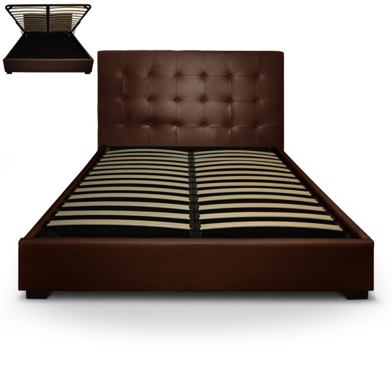 deco in paris lit coffre 160 cm marron avec rangement. Black Bedroom Furniture Sets. Home Design Ideas