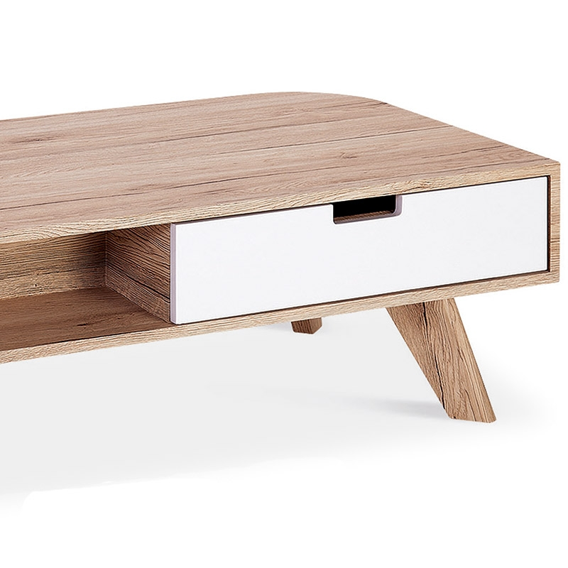 Table basse scandinave avec tiroir for Table basse tiroir