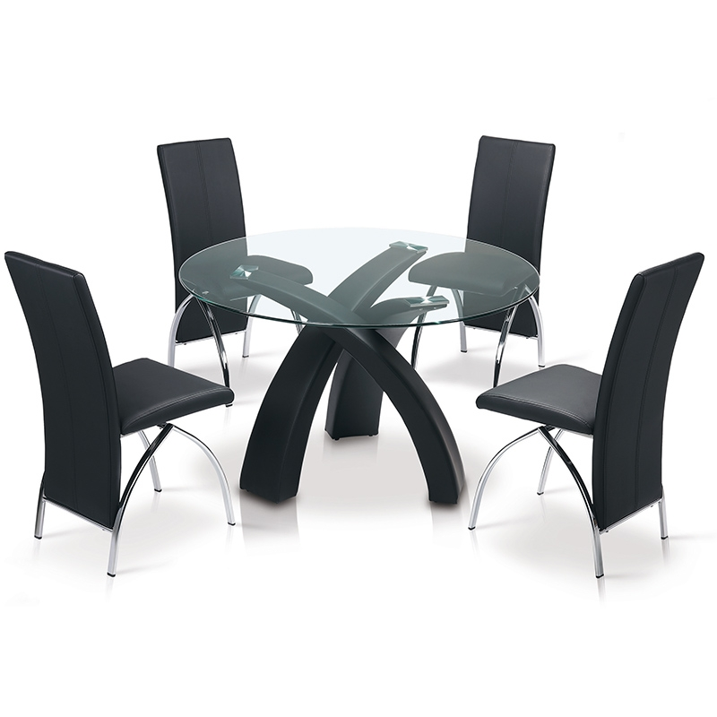 deco in paris table a manger ronde noire gore tab noire gore. Black Bedroom Furniture Sets. Home Design Ideas