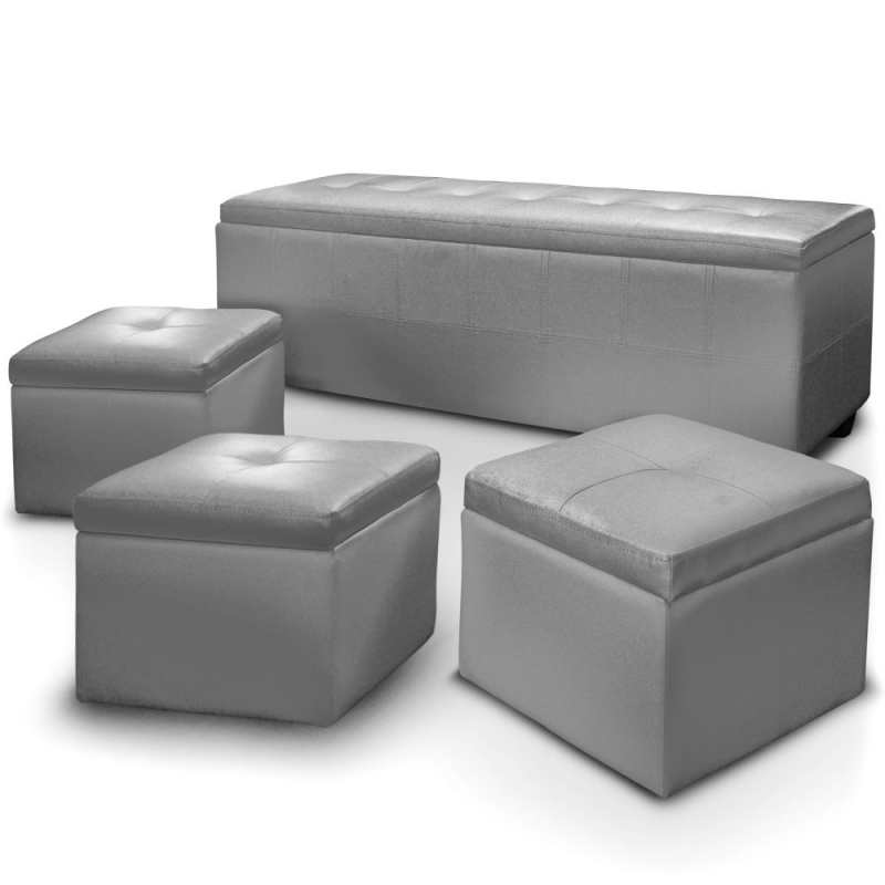 deco in paris banquette coffre capitonnee gris 3 poufs floride banq 3xpouf floride pu gris. Black Bedroom Furniture Sets. Home Design Ideas