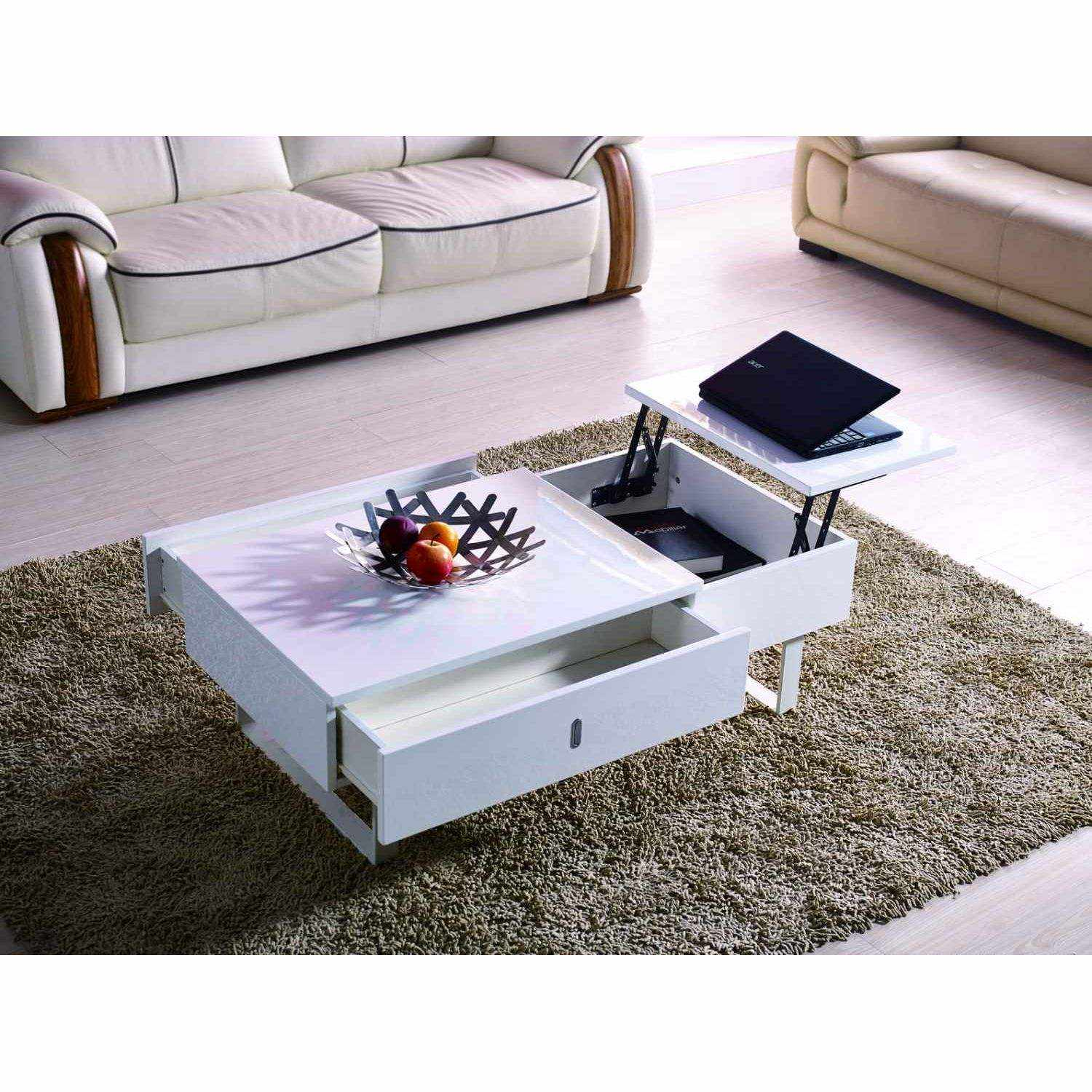 Deco in paris table basse relevable multifonction laque blanc tab blanc multi - Table basse relevable blanc laque ...