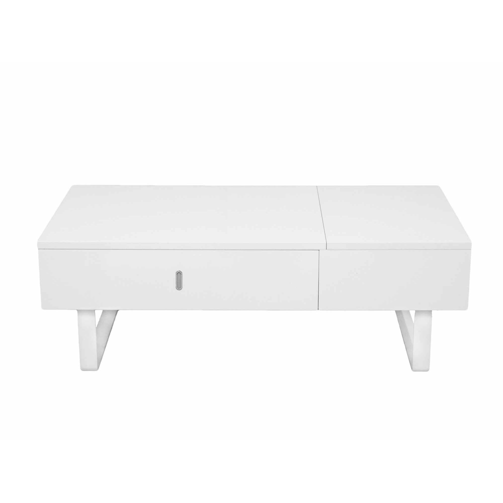 Deco in paris table basse relevable multifonction laque blanc tab blanc multi - Table relevable blanc laque ...