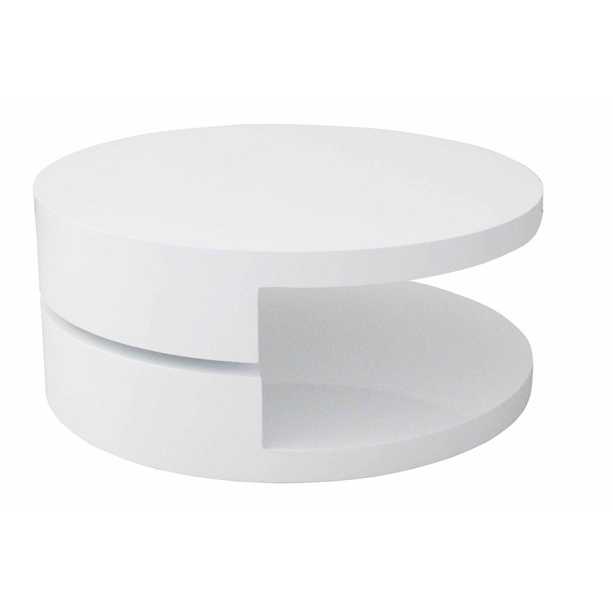Deco in paris table basse laquee blanche ronde for Table ronde laquee blanc extensible