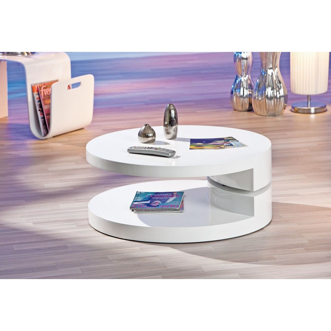 Deco in paris table basse laque blanc ronde extensible for Table salon laque blanc
