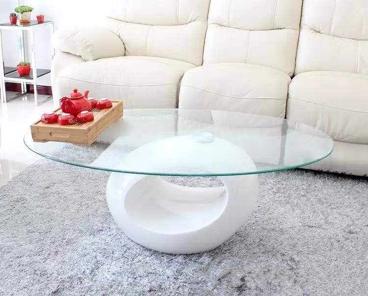Deco in paris table basse design blanche en verre maxus - Table basse verre design ...