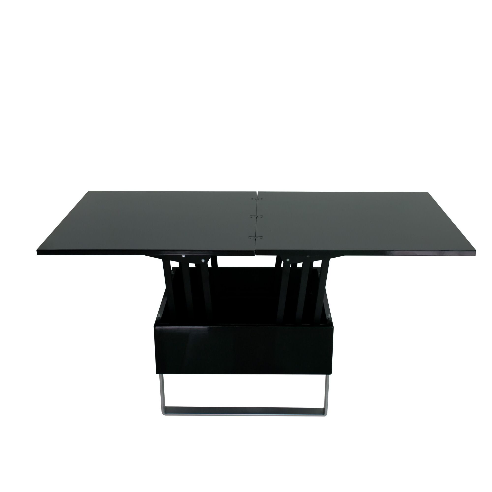 Deco in paris table basse relevable multifonction woods laque noir woods noir - Table basse multifonction ...