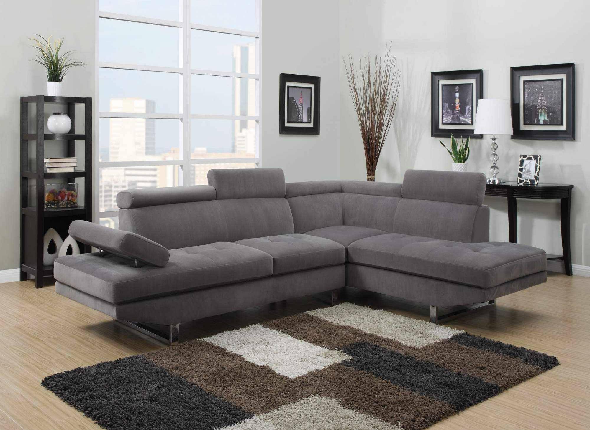 Canapé d'angle design gris RUBIC - Angle Droit