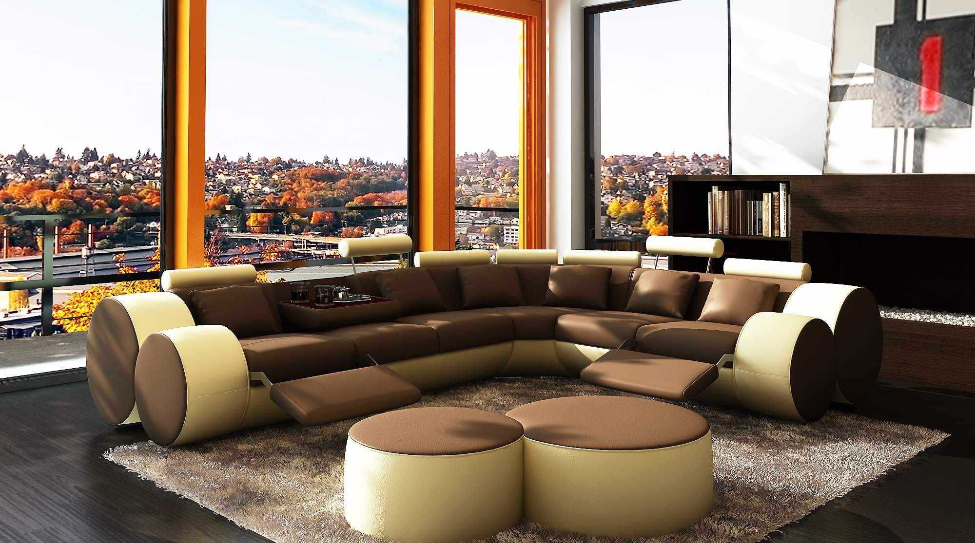 deco in paris canape d angle cuir marron et beige positions relax roma can angle roma marron beige. Black Bedroom Furniture Sets. Home Design Ideas