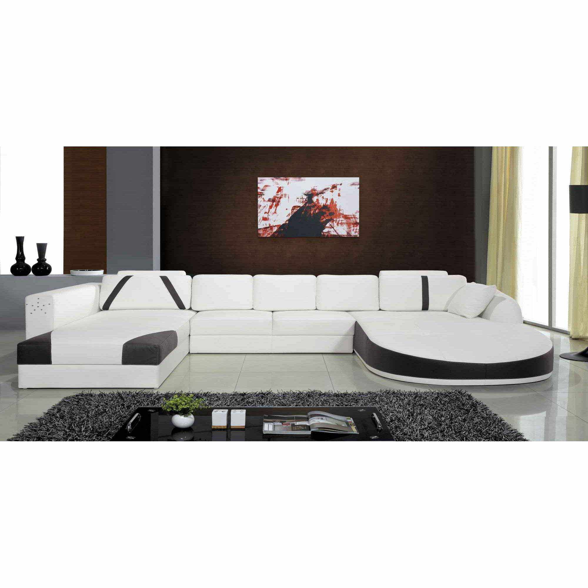 deco in paris canape 2 angles en cuir blanc et noir sonia can 2xangle pu sonia blanc. Black Bedroom Furniture Sets. Home Design Ideas
