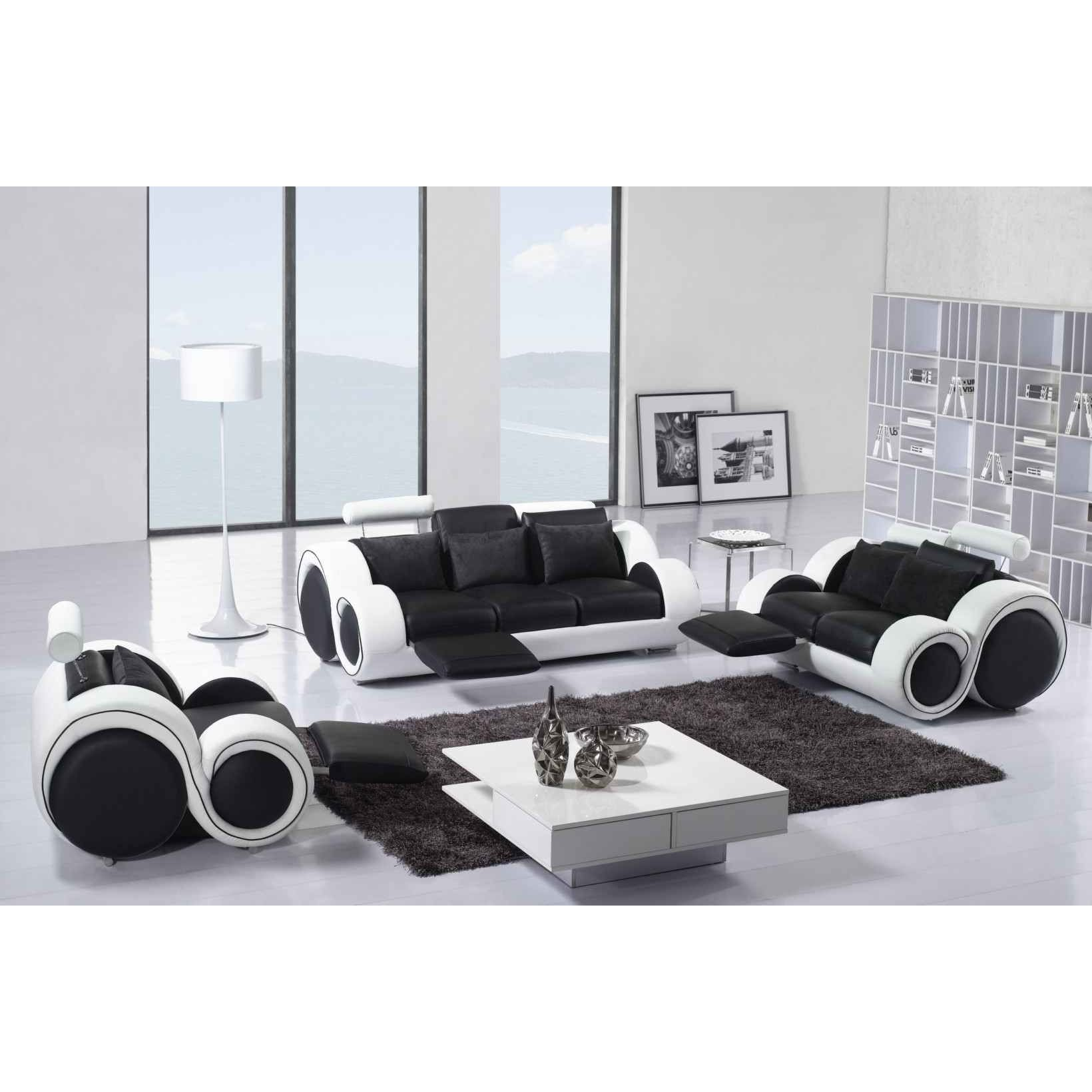 deco in paris ensemble cuir relax oslo 3 1 1 places noir et blanc 4088. Black Bedroom Furniture Sets. Home Design Ideas