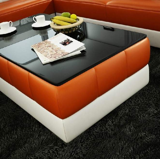 deco in paris 9 table basse orange et blanc rectangle. Black Bedroom Furniture Sets. Home Design Ideas