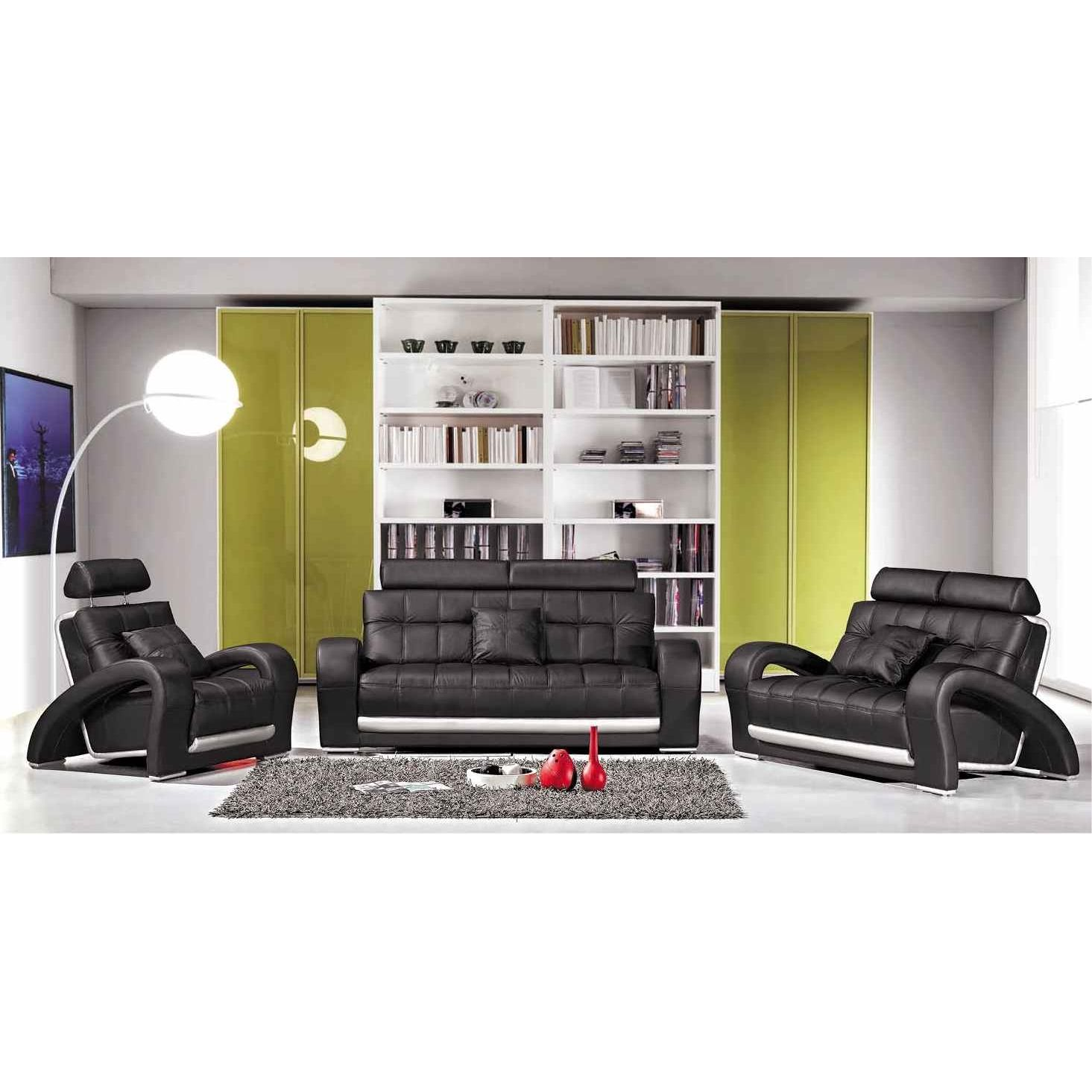 Deco in paris ensemble salon cuir noir 3 2 1 places - Fauteuil original salon ...
