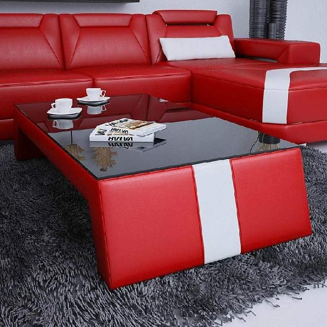 Deco in paris 8 table basse design rouge et blanc taly - Table basse noir et rouge ...