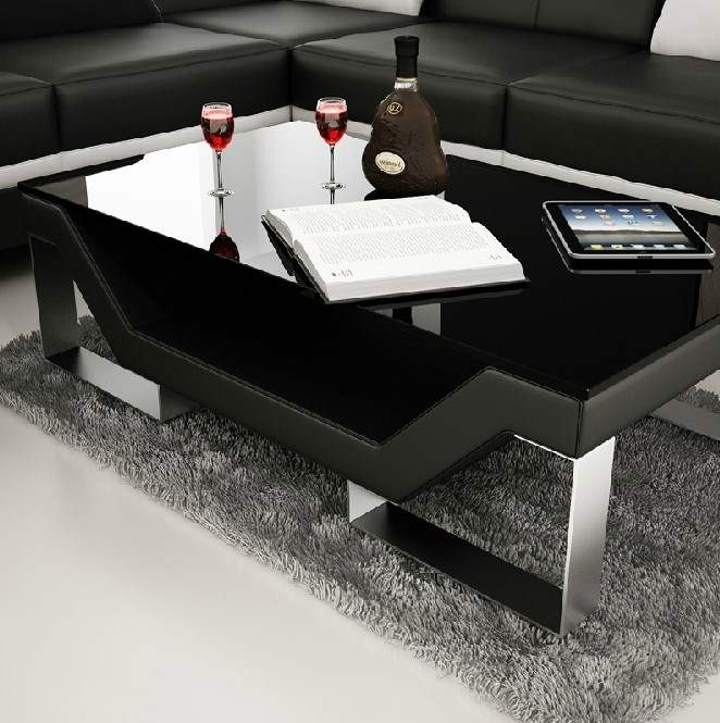 Deco in paris 6 table basse design noire pieds chrome for Table basse design noir
