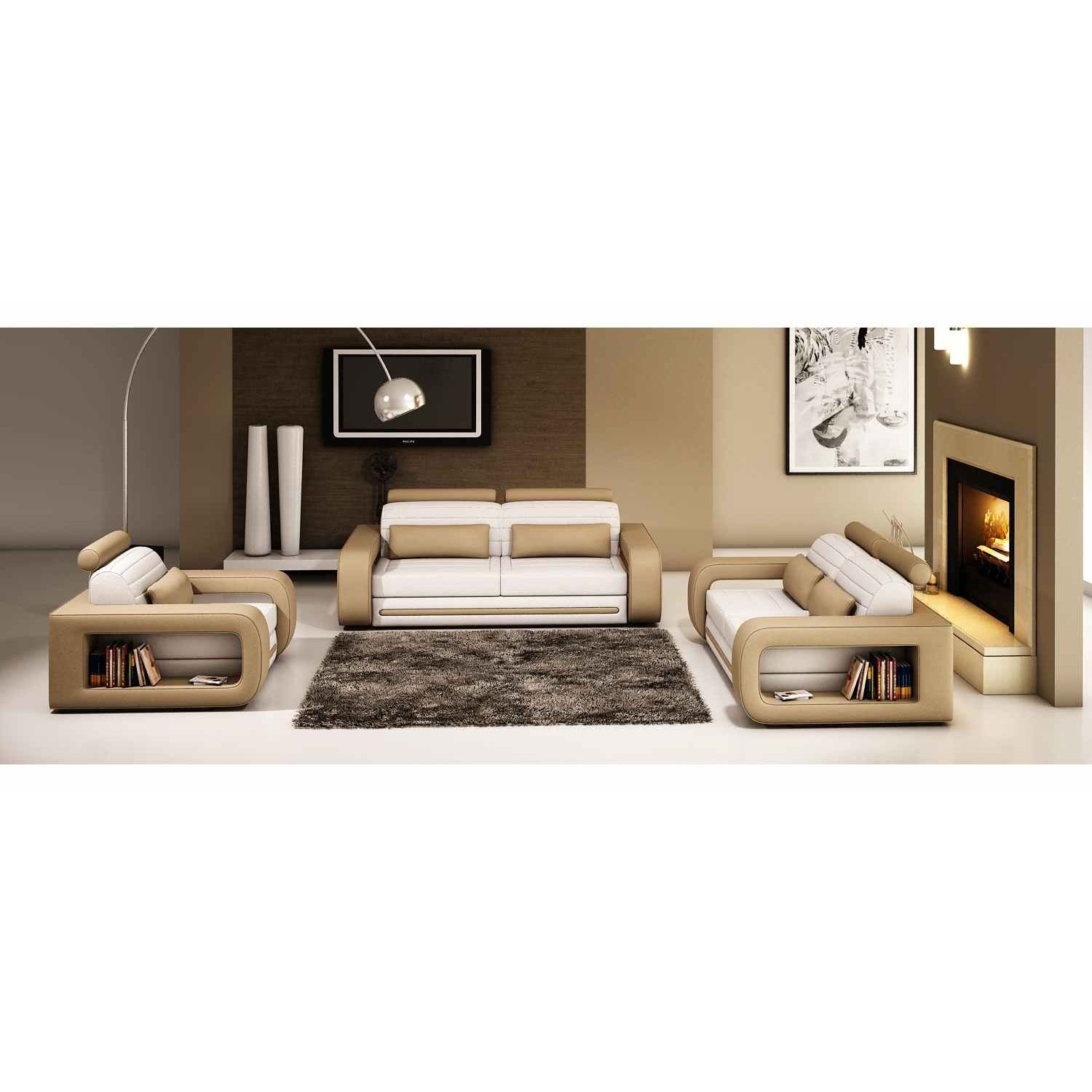 deco in paris canape 3 2 1 places en cuir blanc et marron malone malone 3 2 1 blanc marron. Black Bedroom Furniture Sets. Home Design Ideas