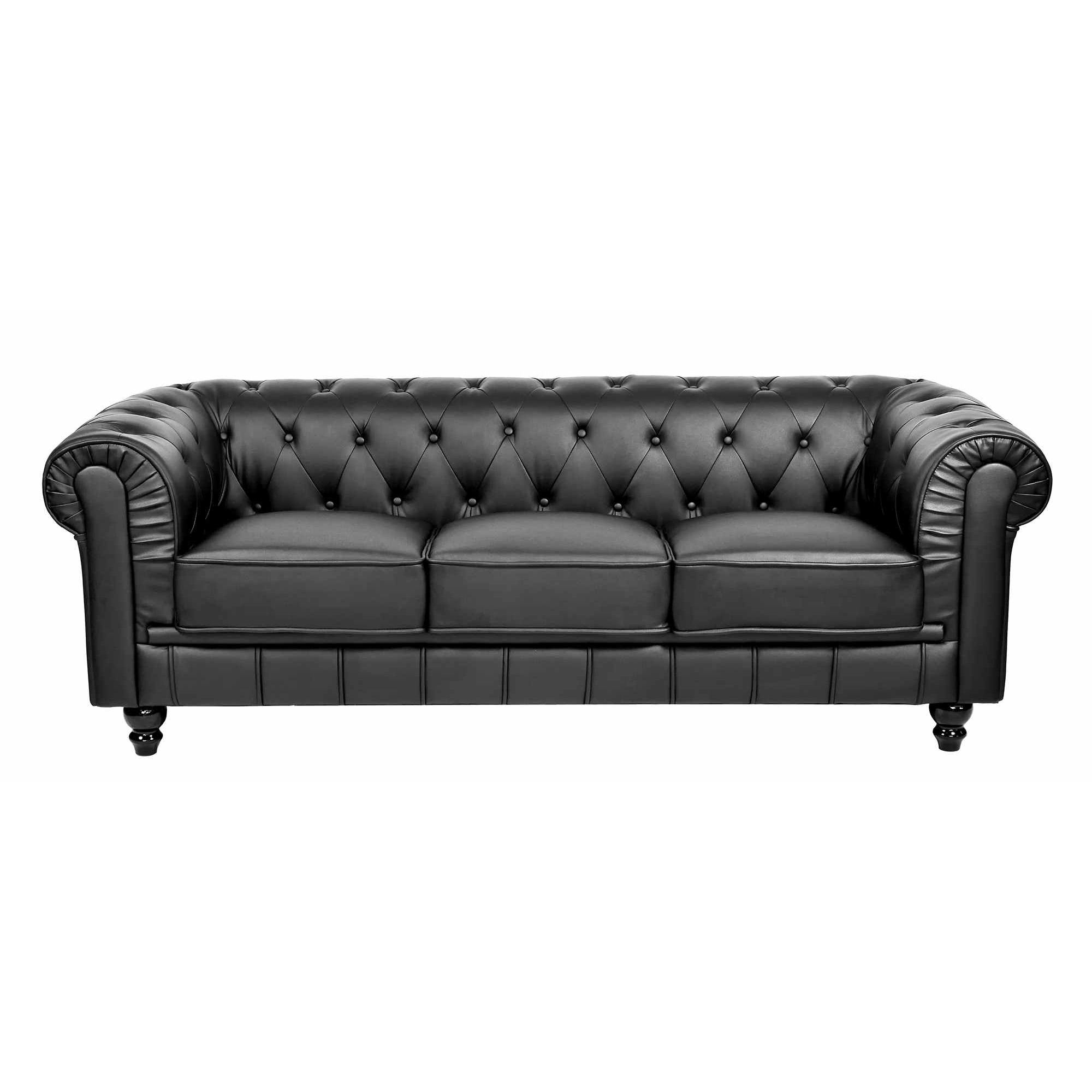 Deco in paris ensemble canape 3 2 1 places noir for Canape chesterfield 2 places