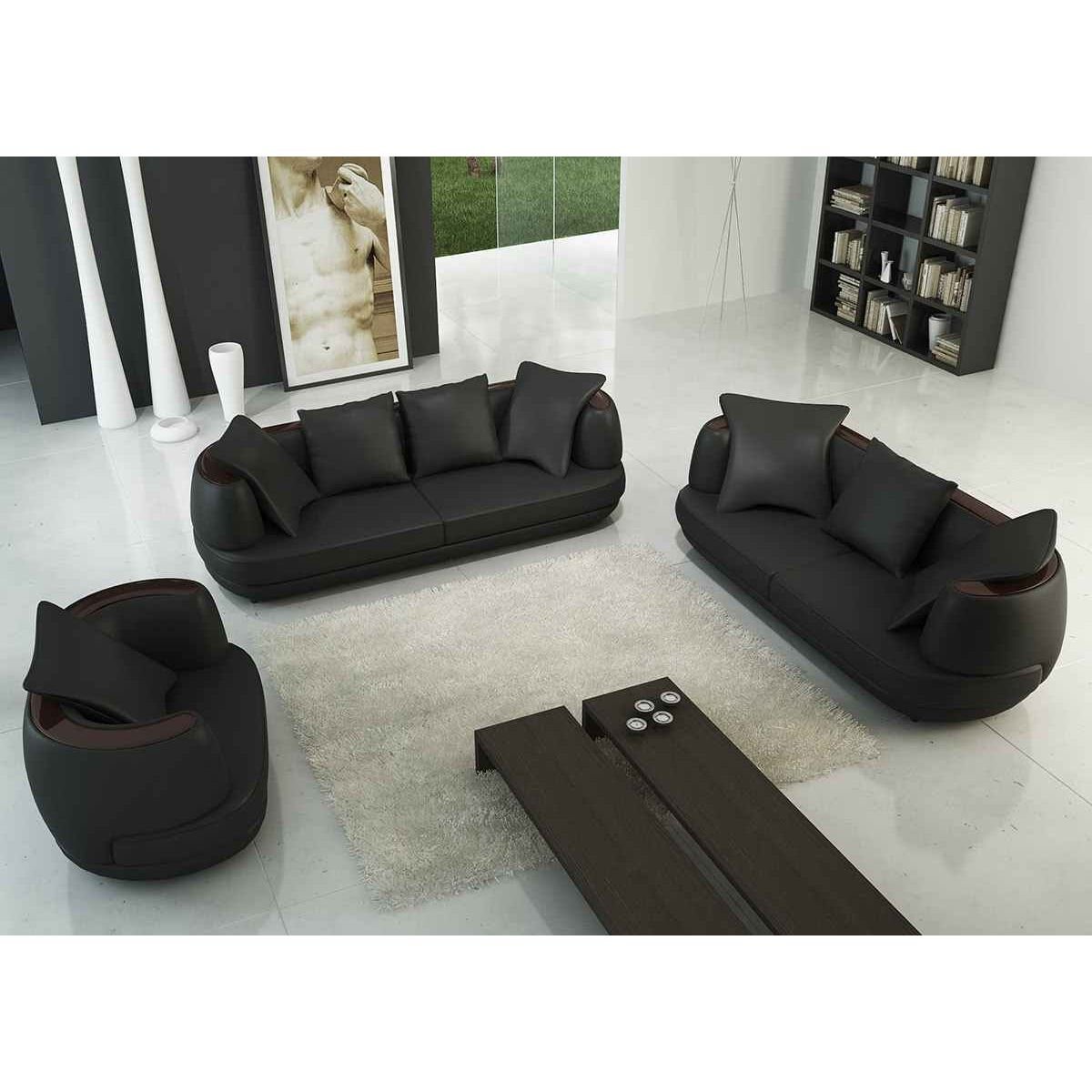 Deco in paris ensemble canape 3 2 1 places noir en cuir for Canape 2 places noir
