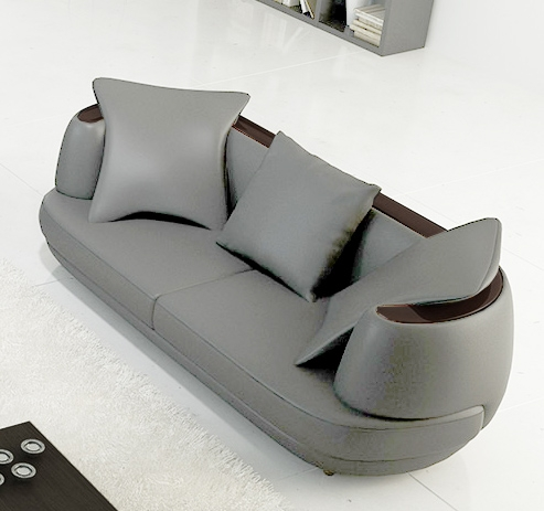 Deco in paris ensemble canape 3 2 1 places en cuir gris clair ryga ryga gri - Changer mousse canape ...