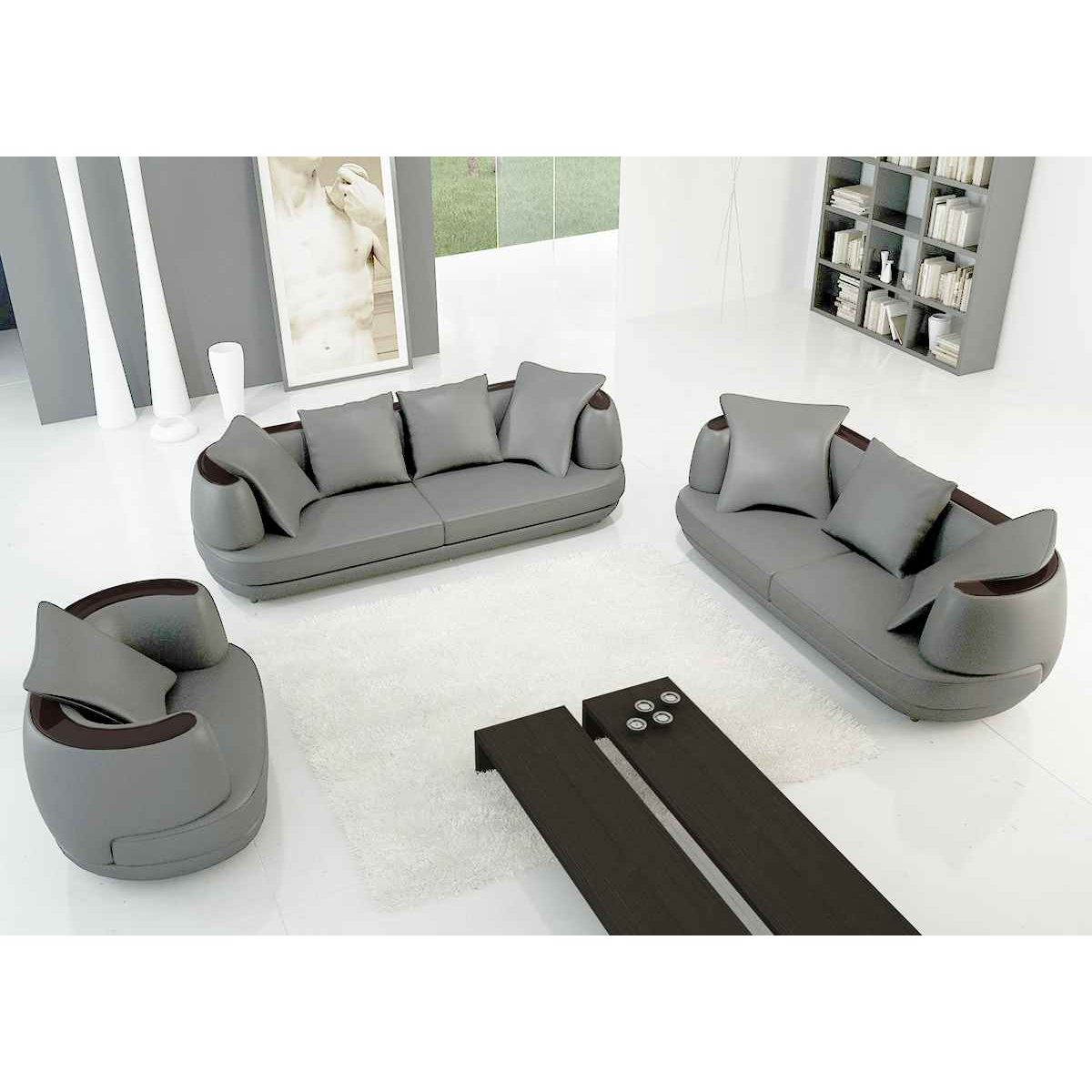 Deco in paris ensemble canape 3 2 1 places en cuir gris for Salon canape et 2 fauteuils