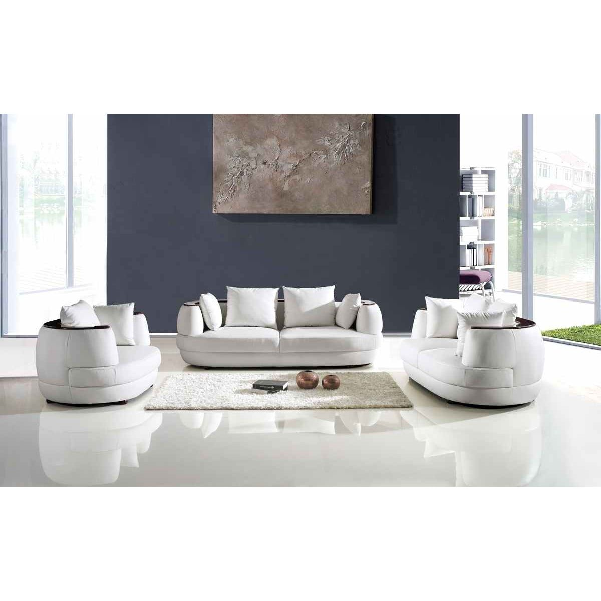 deco in paris ensemble canape 3 2 1 places en cuir blanc ryga ryga 321 blanc. Black Bedroom Furniture Sets. Home Design Ideas