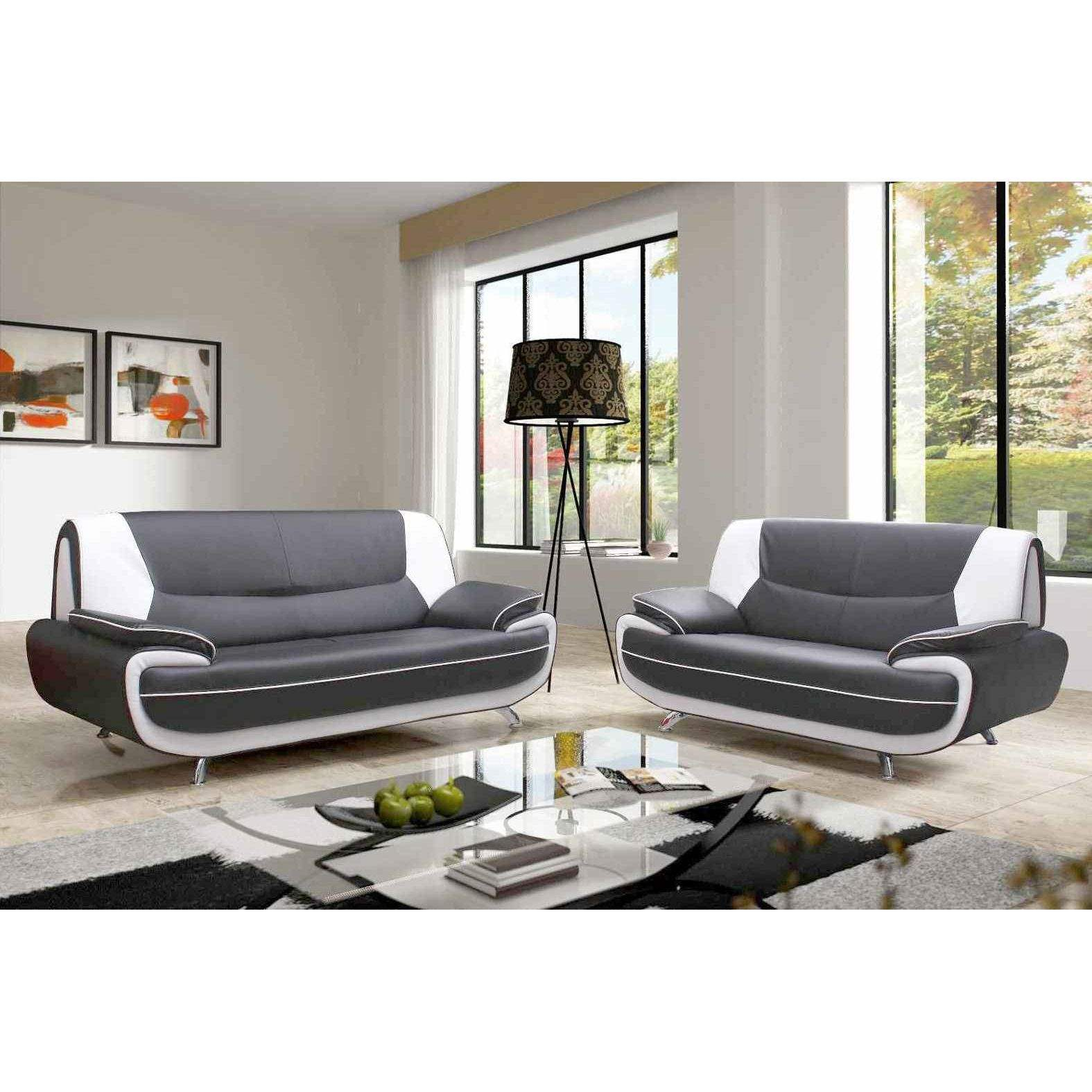 Deco in paris canape 3 2 places gris et blanc marita marita - Salon canape gris ...