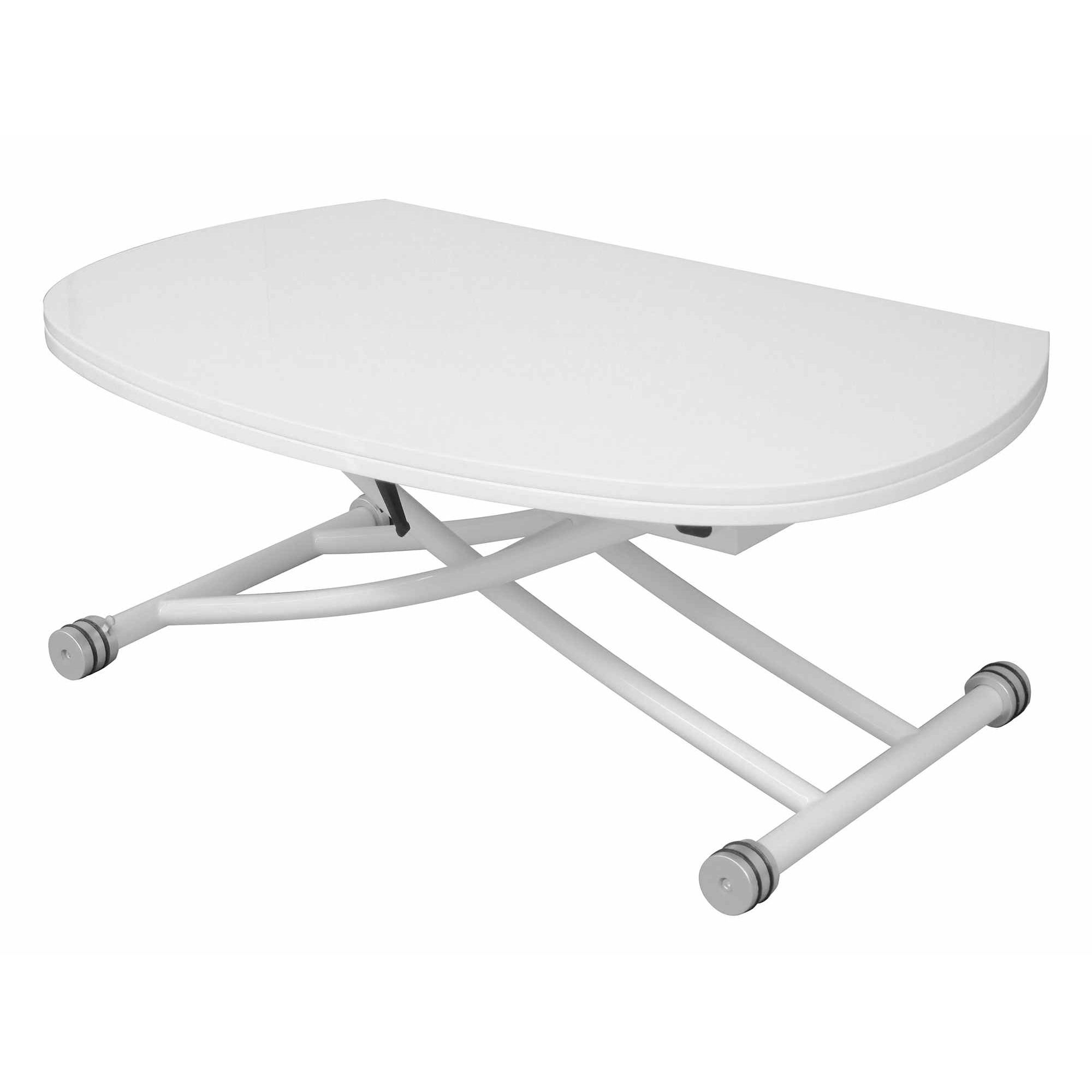 Deco in paris table basse relevable a rallonge laquee blanche caoza tab rel - Table relevable rallonge ...