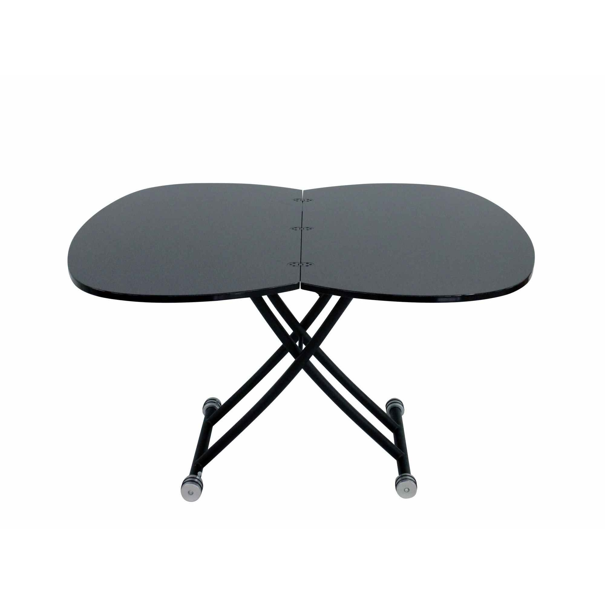 Deco in paris table basse relevable a rallonge laque for Table basse relevable noir