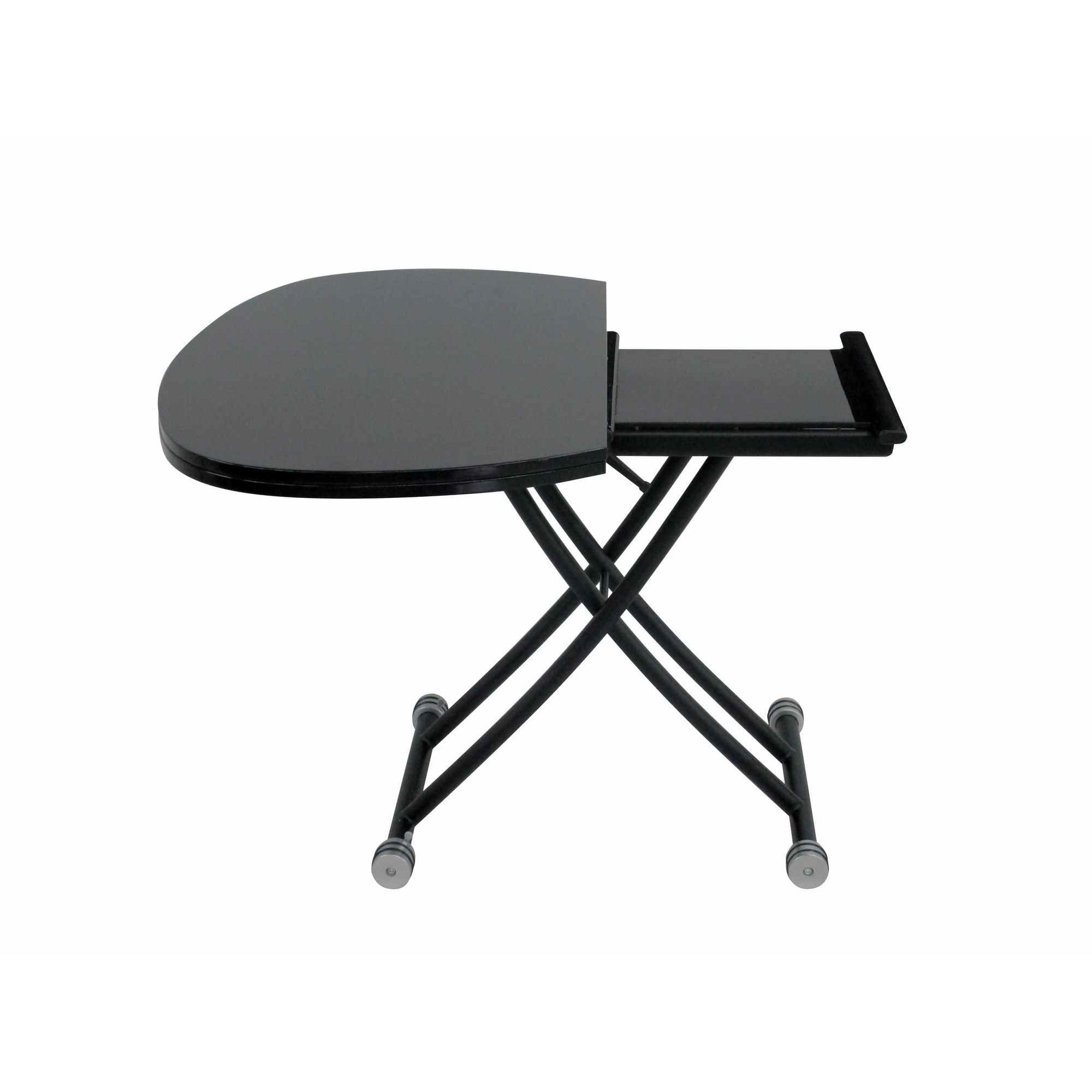 Deco in paris table basse relevable a rallonge laquee for Table basse relevable noir