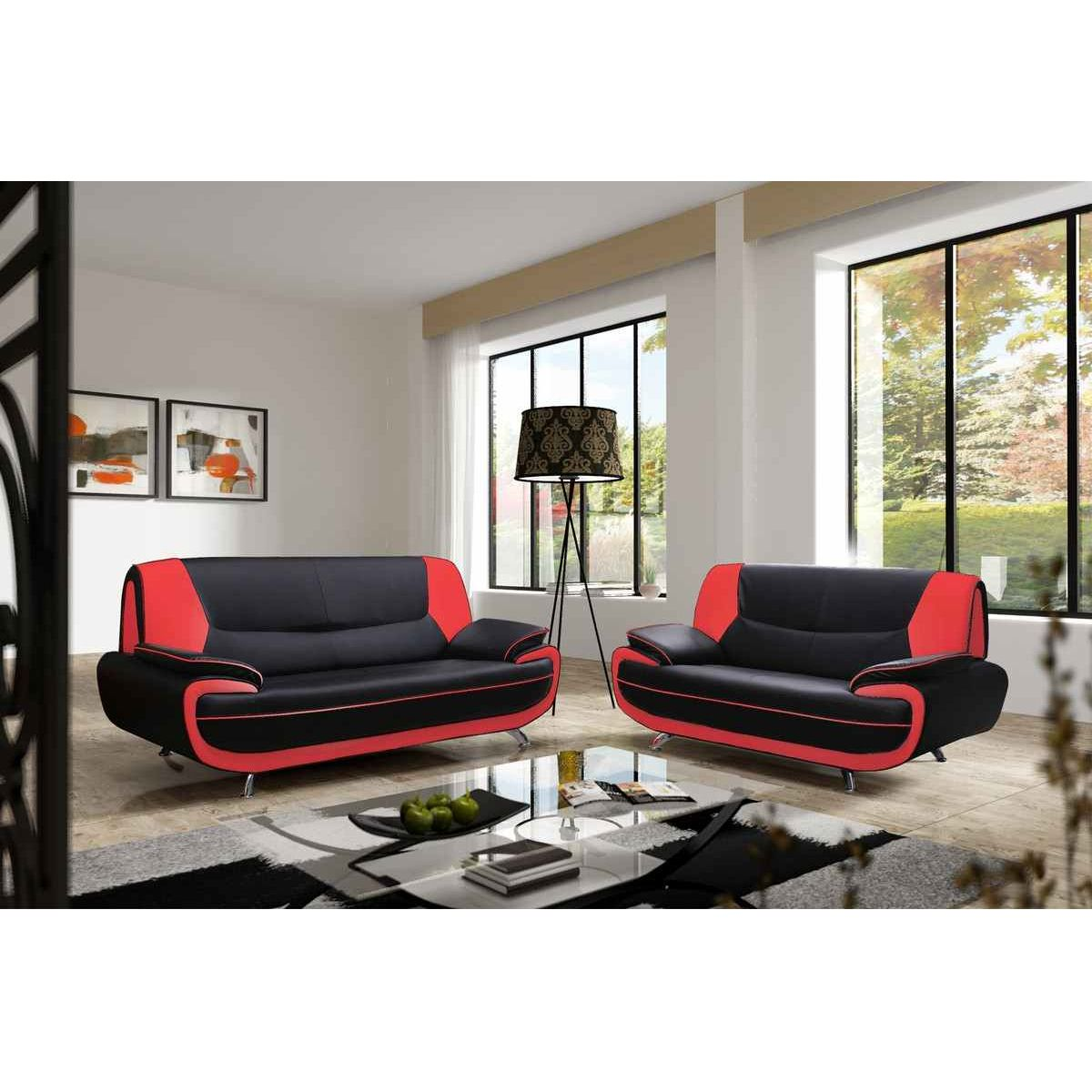 Deco in paris canape 3 2 places noir et rouge marita for Canape cuir noir design