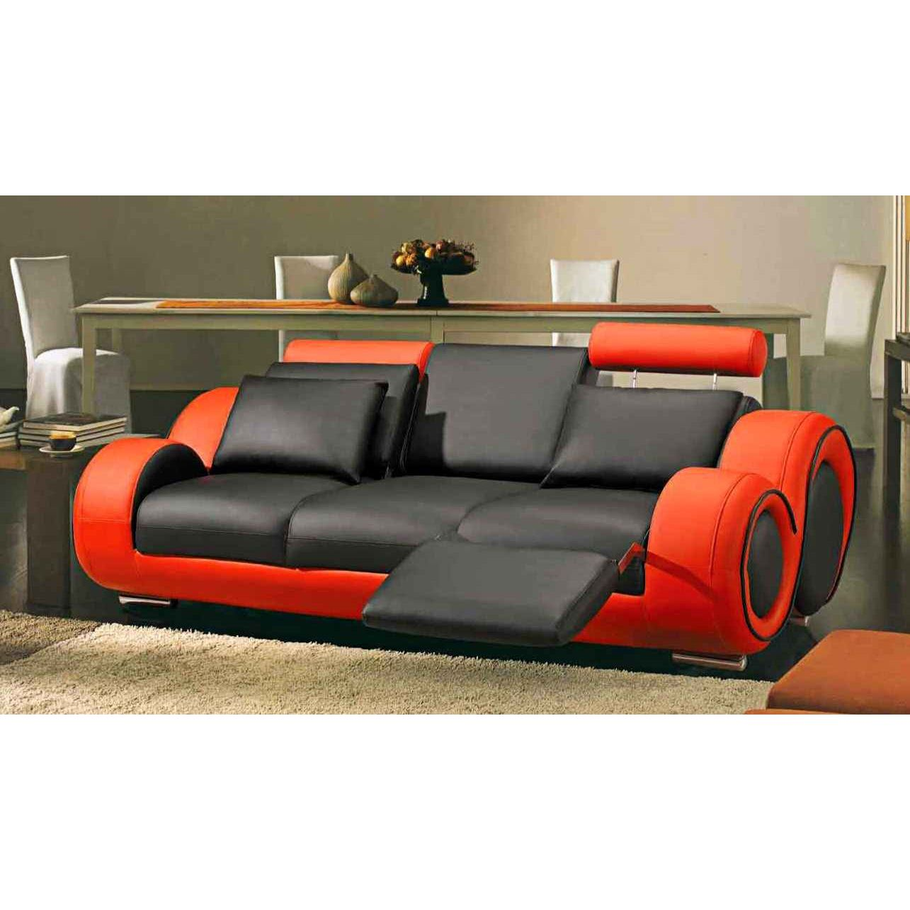 Deco in paris canape design 3 places cuir noir et rouge tetieres relax oslo - Canape en cuir design ...