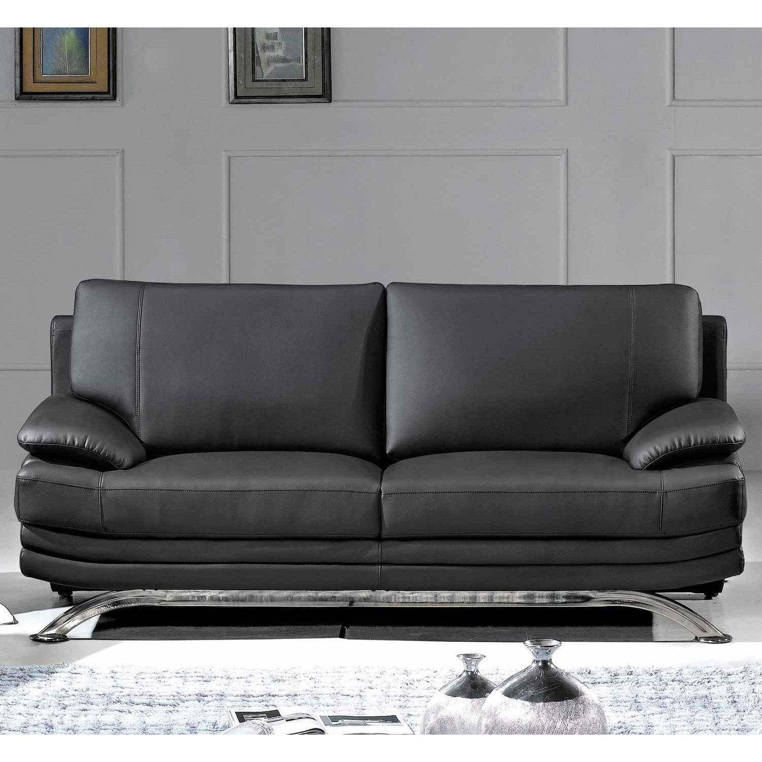 Deco in paris canape cuir noir 3 places romeo can romeo - Peindre un canape en simili cuir ...
