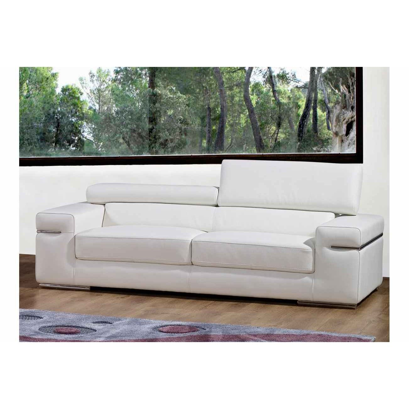 Deco in paris canape 3 places en cuir blanc thomas can - Canape convertible cuir 3 places ...