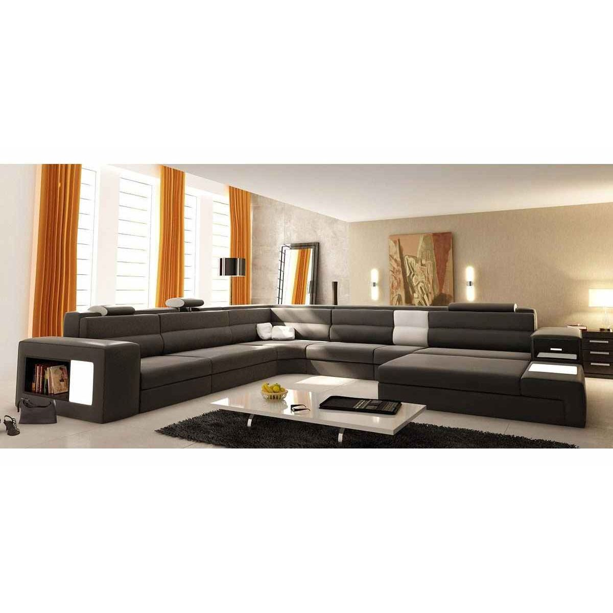 deco in paris canape panoramique cuir gris angle droit. Black Bedroom Furniture Sets. Home Design Ideas