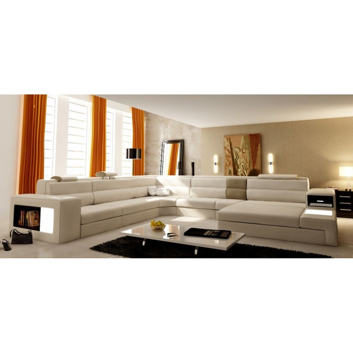 deco in paris canape panoramique en cuir beige angle. Black Bedroom Furniture Sets. Home Design Ideas