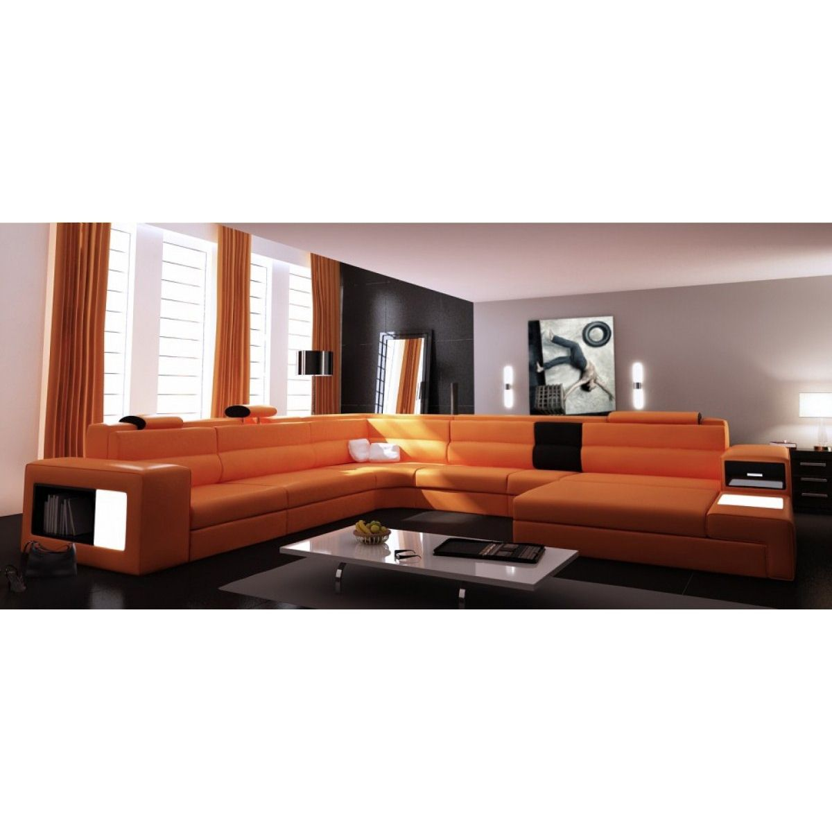 deco in paris canape panoramique orange angle droit venise can pano angledroit pu venise orange. Black Bedroom Furniture Sets. Home Design Ideas
