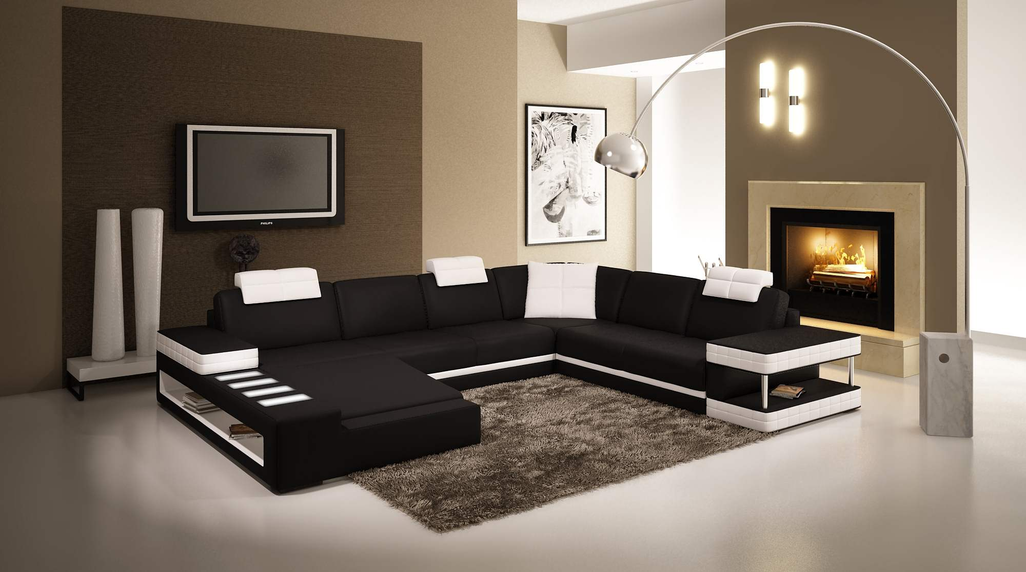 Deco in paris canape d angle panoramique en cuir noir et for Latest drawing room design