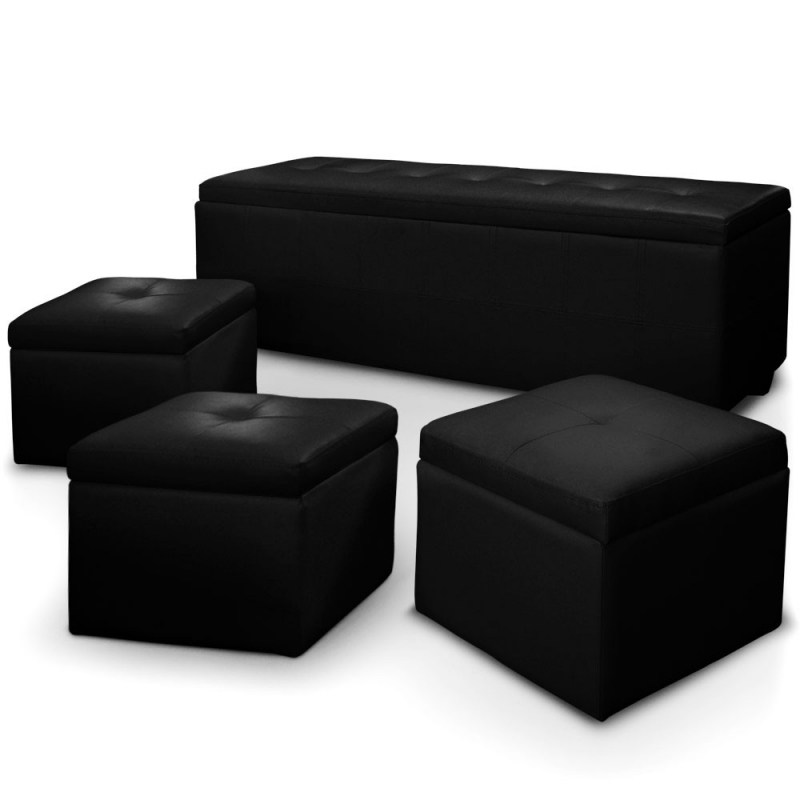 deco in paris banquette coffre capitonnee noir 3 poufs floride banq 3xpouf floride pu noir. Black Bedroom Furniture Sets. Home Design Ideas